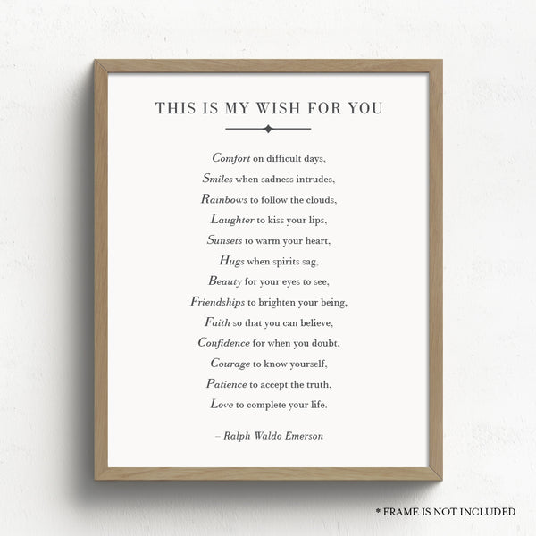 This Is My Wish For You Print // Ralph Waldo Emerson