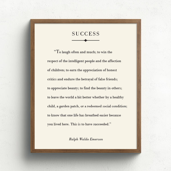 Success Quote Art Print // Ralph Waldo Emerson Poem