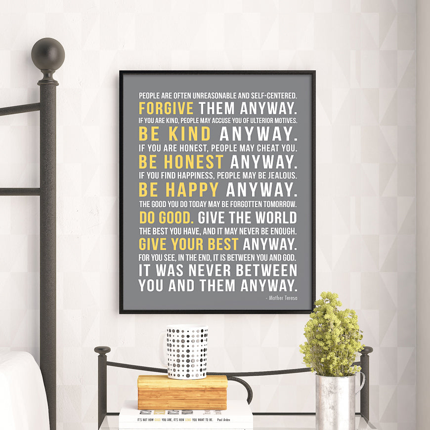 Mother Teresa Quote Print // Do It Anyway