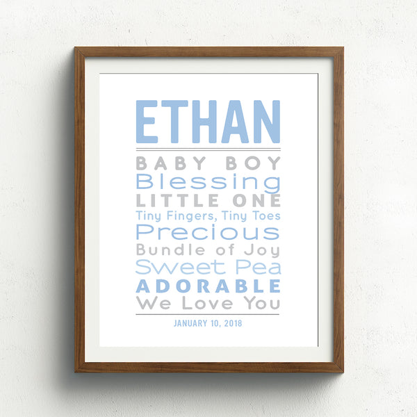 Baby Boy Word Art Print // Typographic Nursery Decor