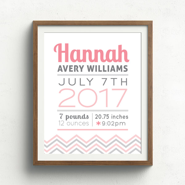 Chevron Birth Announcement Print // Cursive Name