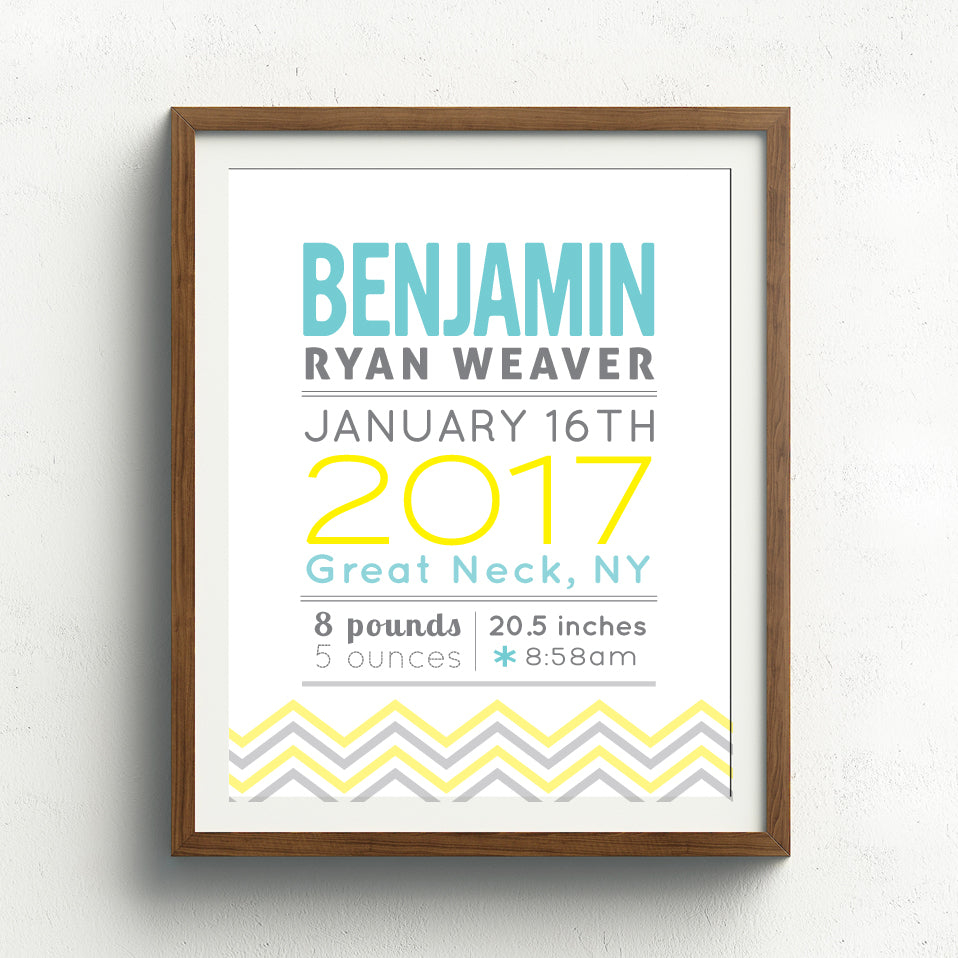 Chevron Birth Announcement Print // All Caps Name