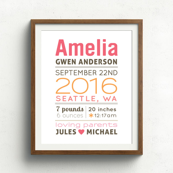 Baby Girl Birth Announcement Print // Block Name