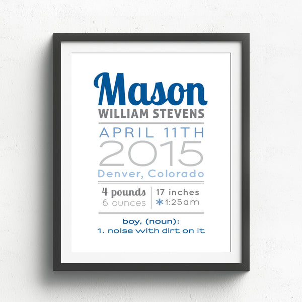 Baby Boy Birth Announcement Print // Boy Noun
