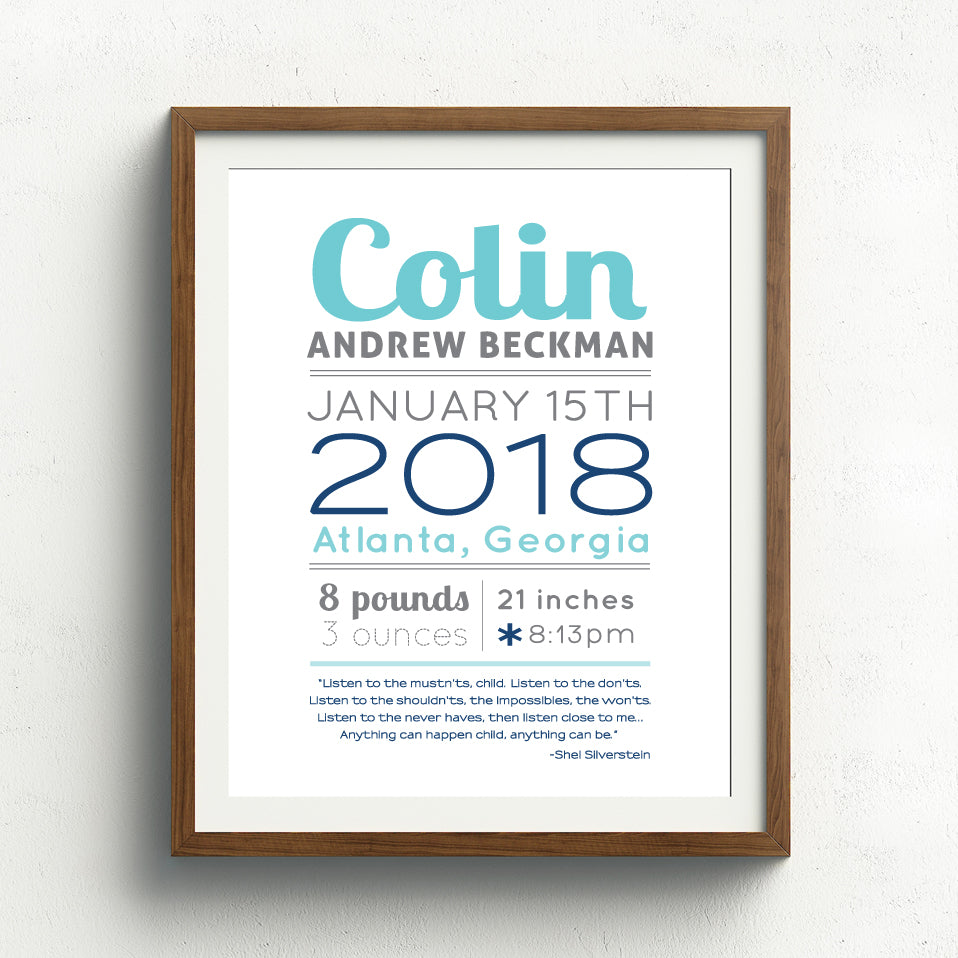 Boy Birth Announcement Print // Custom Quote