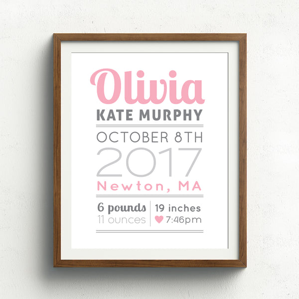 Baby Girl Birth Announcement Print // Cursive Name