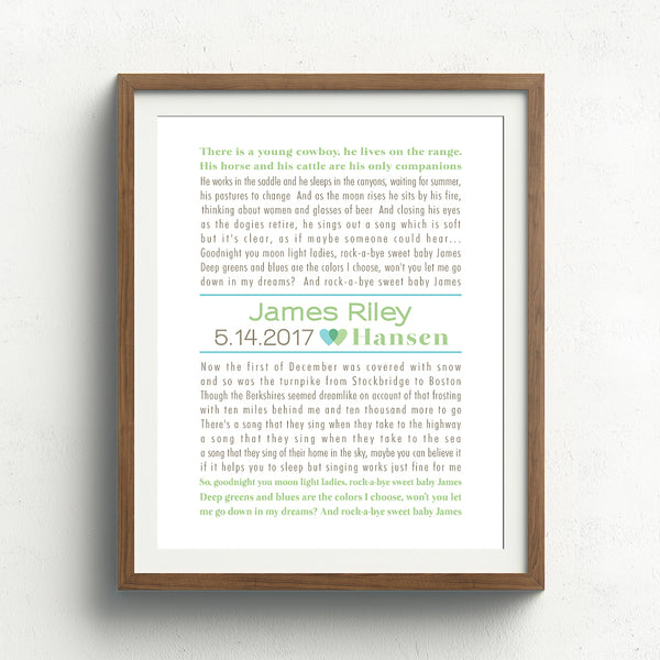 Nursery Storybook Print // custom song or text