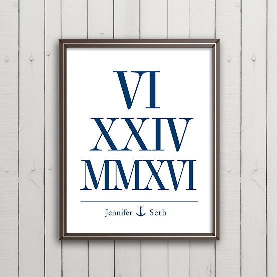 Roman Numeral Date // Nautical Anchor
