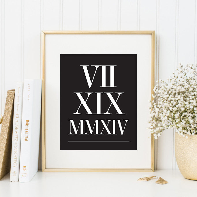 Roman Numeral Date Print // Anniversary Date