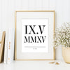 Roman Numeral Date Print // Couple's Initials