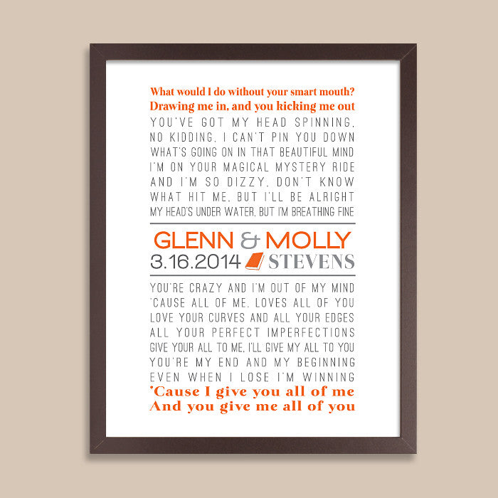 Couple's Songs Lyrics Print // Book Lover