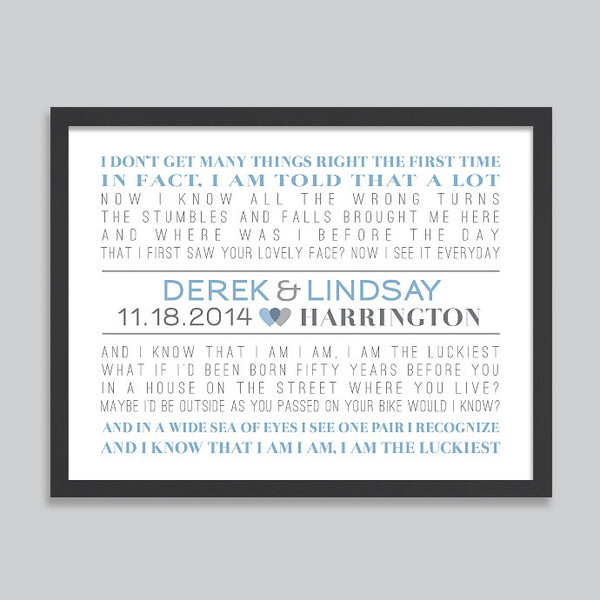 First Dance Song Lyrics Print // Horizontal Layout