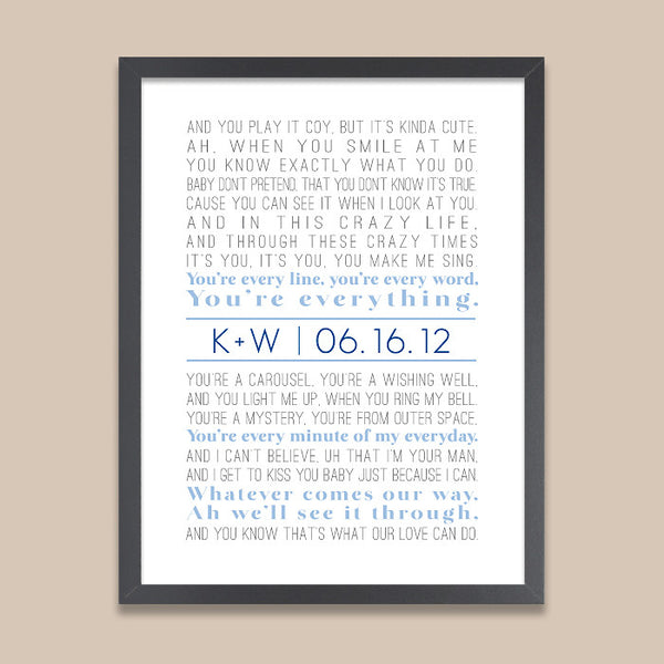 Custom Song Lyrics Print // Monogram Initial & Date