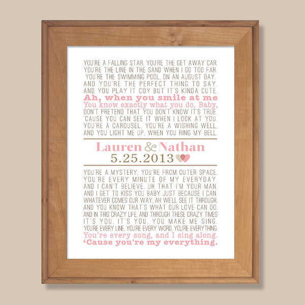 Modern Vintage Song Lyrics Print//  Rustic Wedding