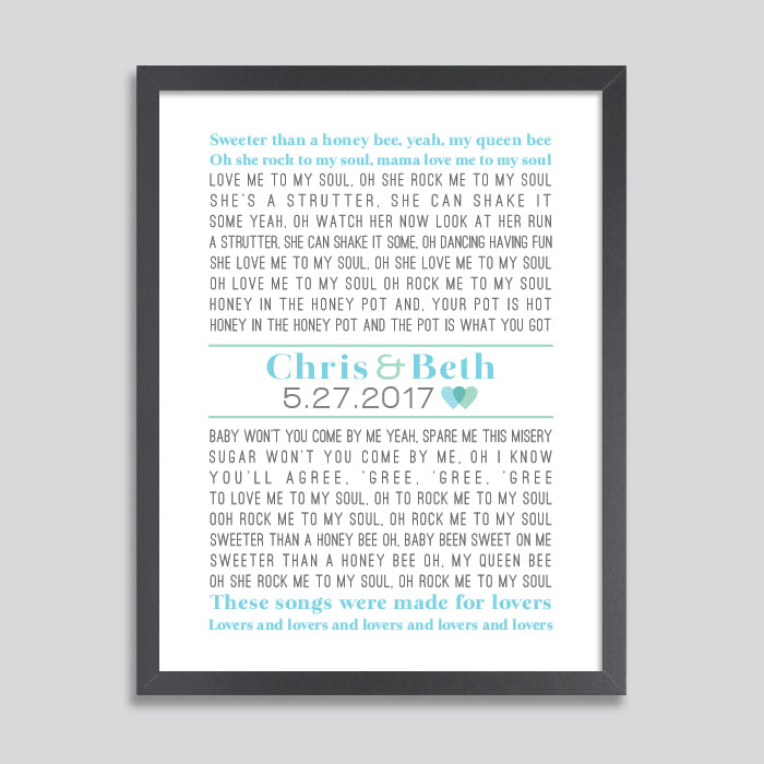 First Dance Lyrics Poster // Serif Font