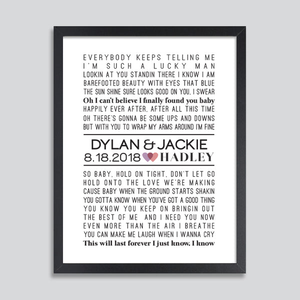 First Dance Lyrics Poster // Block Font