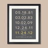Couple's Important Dates Block Text Print // Highlighted Date