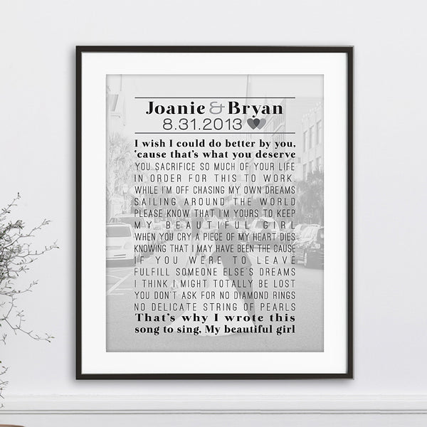 Wedding Photo & Words Print // Vows, Lyrics, Poem