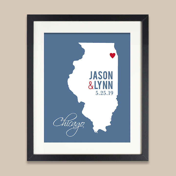 Illinois Wedding Map Print // ANY State or City