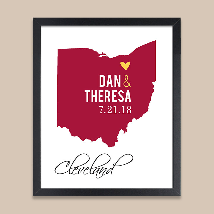 Ohio Wedding Map Print // ANY State or City