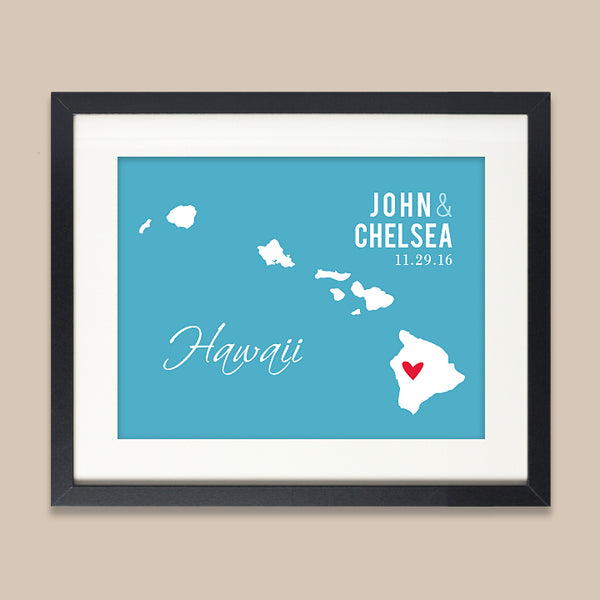 Hawaii Wedding Map Print // ANY State or City