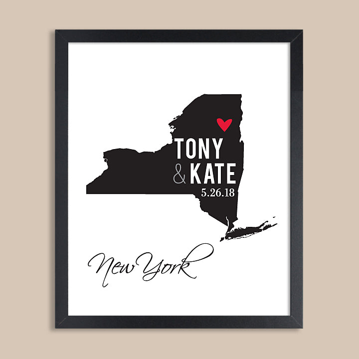 New York Wedding Map Print // ANY State or City