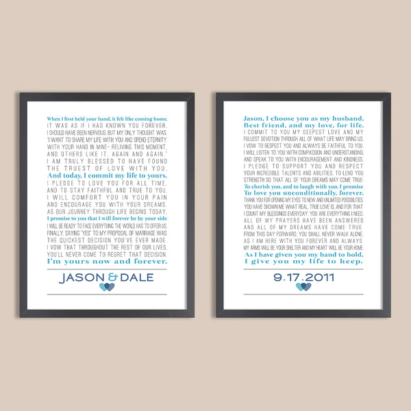 Custom Wedding Vows // Set of Two Prints