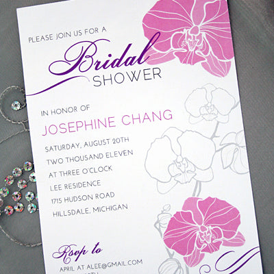 Orchid Floral Invitation // Bridal Shower, Engagement, Birthday