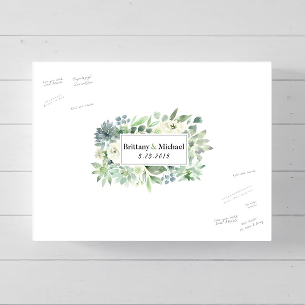Greenery Succulent Frame Border Wedding Guest Book Alternative // Poster or Canvas