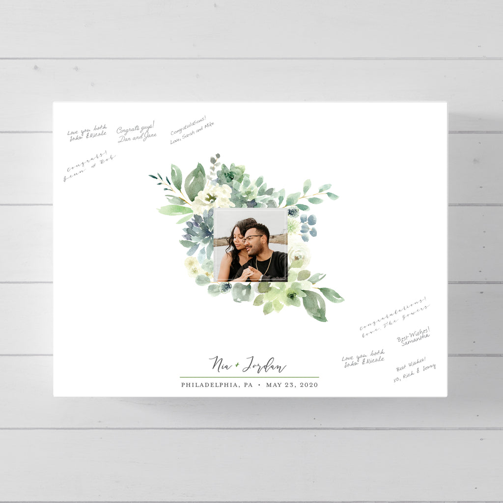 Modern Floral Photo Guest Book Alternative for wedding // Poster or Canvas