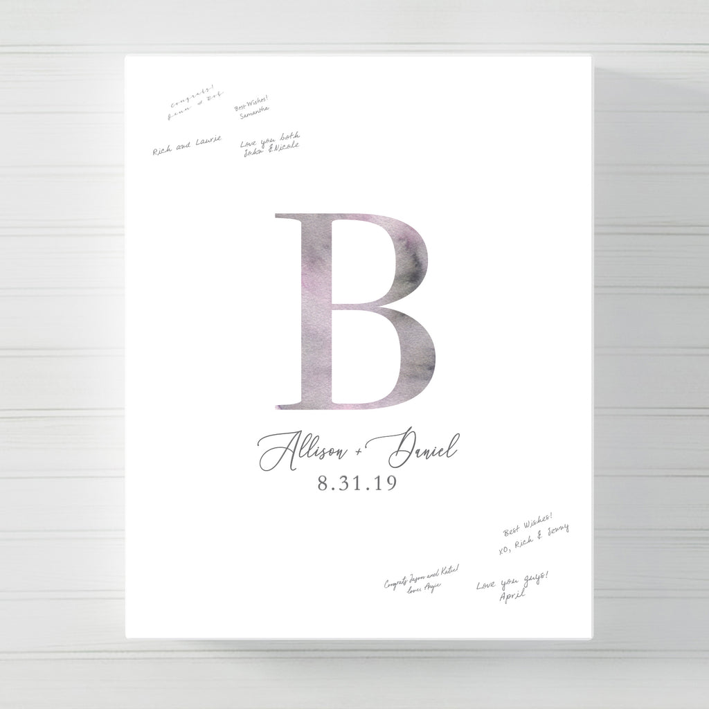 Monogram Watercolor Wedding Guest Book Alternative // Poster or Canvas