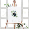 Floral Watercolor Wreath Wedding Guest Book Alternative with Photo //  Poster or Canvas