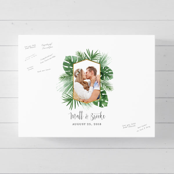 Tropical Green Leaves Wedding Guest Book Alternative //  Poster or Canvas