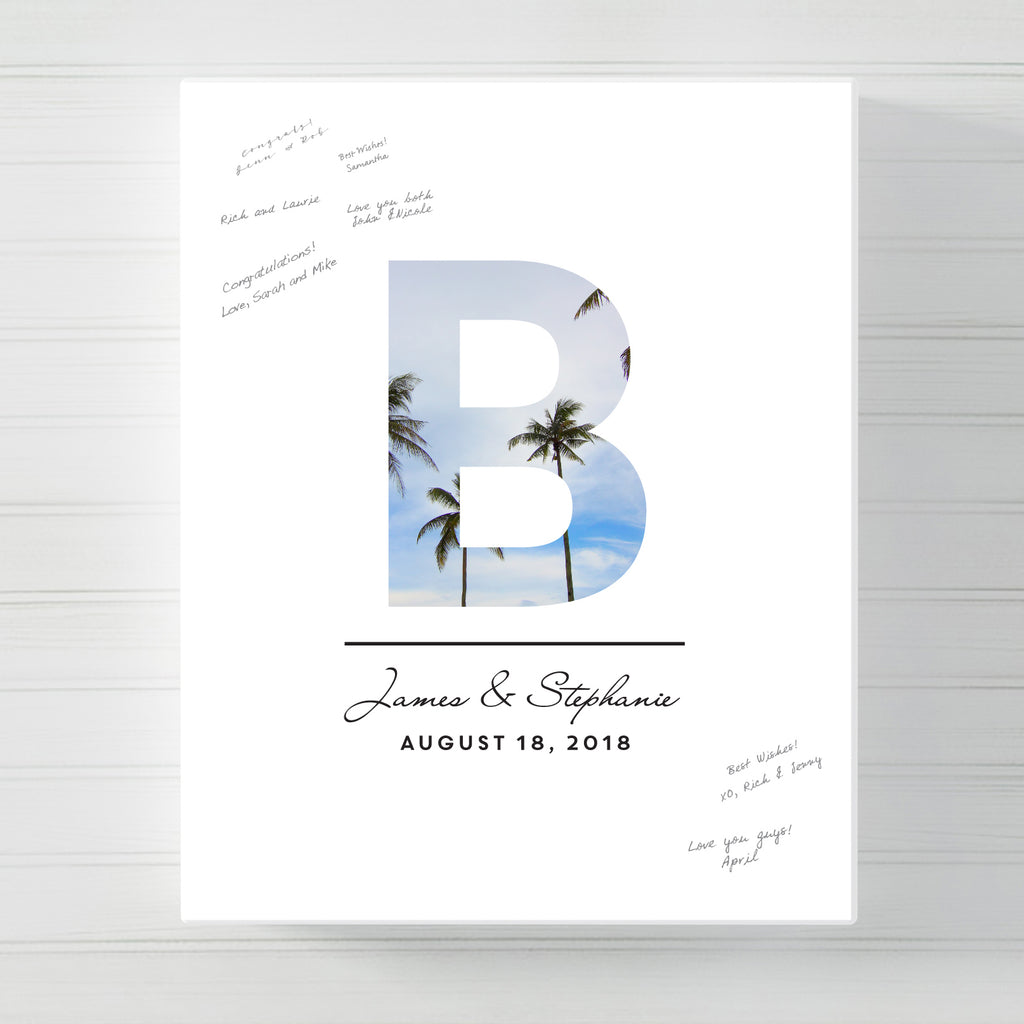 Initial Monogram Wedding Guest Book Alternative // Canvas Wrap