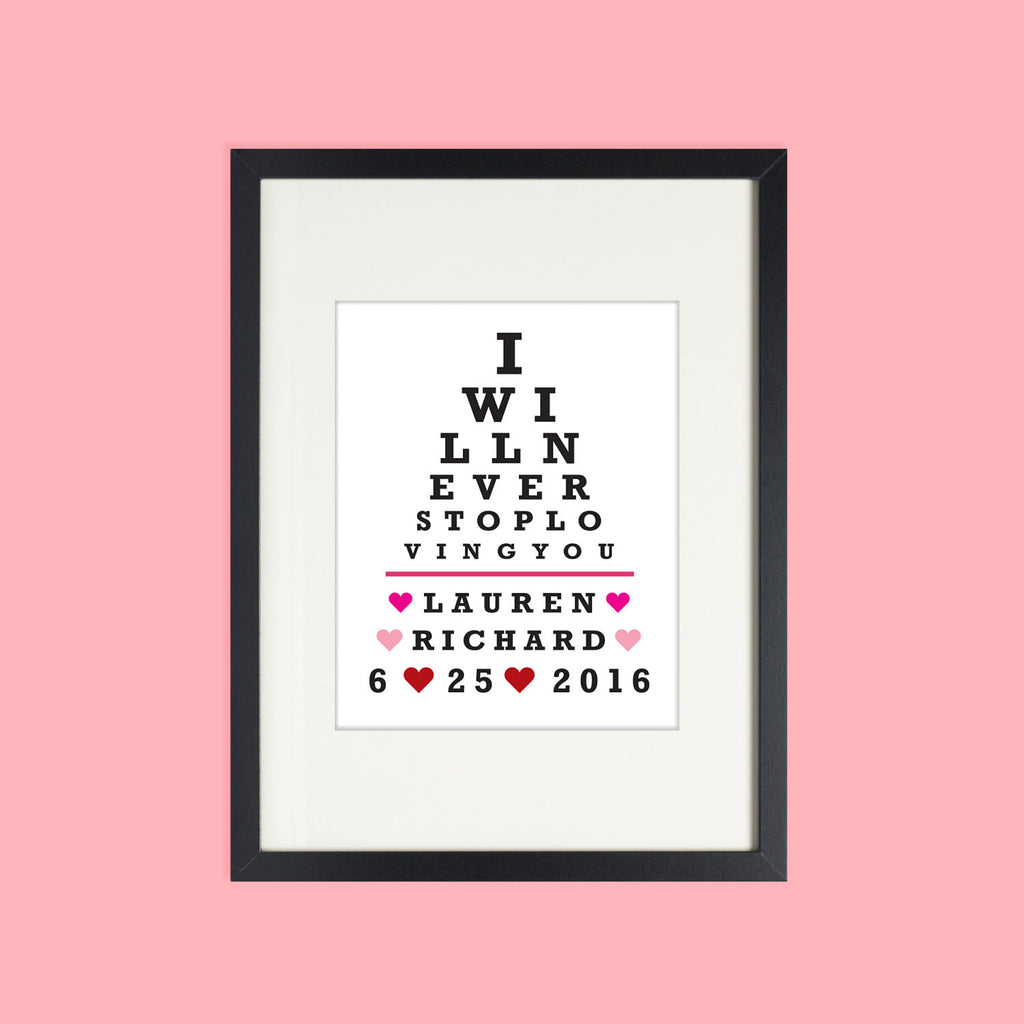 Valentines Day Gift, Gift for Her, Gift for Wife, Unique Wedding Gift, Eye Chart Print, Personalized Wedding
