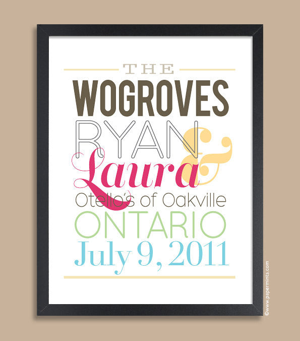 Personalized Wedding Gift, Headline Couple Block Name, Personalized Art Print, Wedding Anniversary Gift