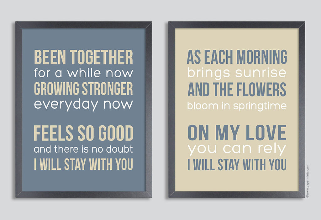 Personalized Quote Print 11x14 Set of two prints (song lyrics, poem, quote, message, vows ) in grey & tan or custom colors