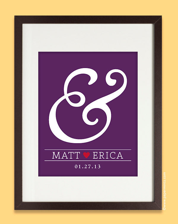 Custom Wedding Gift - Personalized Ampersand Wall Art Print  8x10, anniversary gift, bridal shower present, custom colors