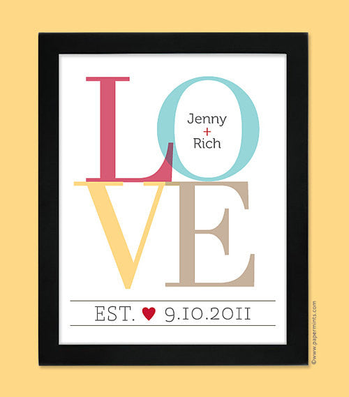 Personalized Wedding Gift, Unique Wedding Gift Idea - LOVE Print, Anniversary Gift, 8x10, 11x14, 16x20