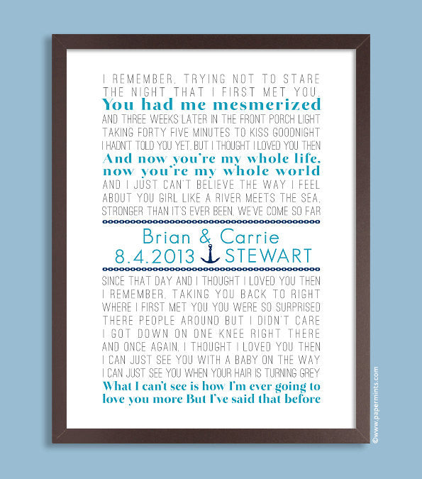 Nautical Wedding Print, Song Lyrics, Beach (custom song lyric art) aqua and navy, custom colors