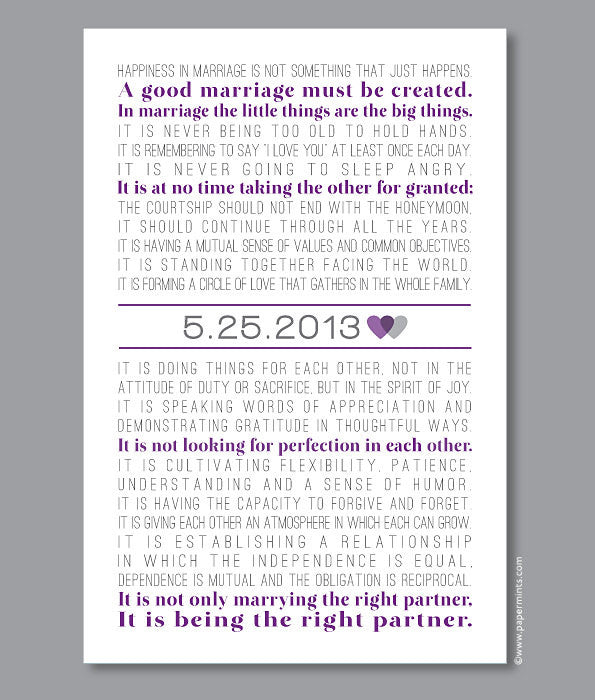 The Art of Marriage Print, Wedding Poem with Personalized date  (custom song lyrics, wedding vows) in purple and gray, custom colors