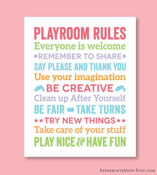 Playroom Rules Art, Girls Room Decor, Playroom Decor, Childs Room Decor, Art for Playroom