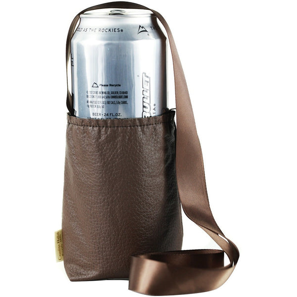 Brown Cup Necklace Holder Large, It's All About An Idea, Cup Necklace Holder Faux Leather and Satin Ribbon.  Beverage Can Necklace Holder,  Water bottle Necklace holder,  Beer Bottle Large,  Keep Your Hands Free,