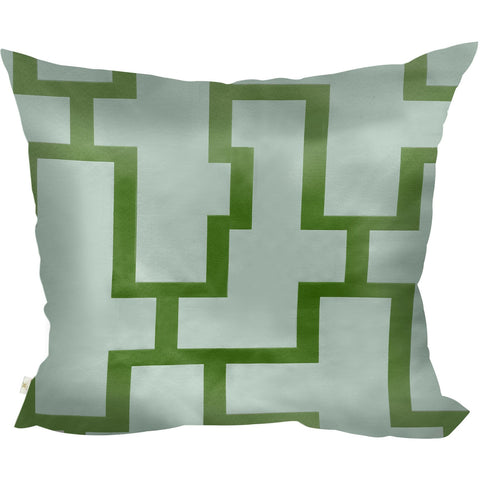 Blocc Decorative Pillow Covers Collection  White-Green, Square Set of 2. - It's All About An Idea