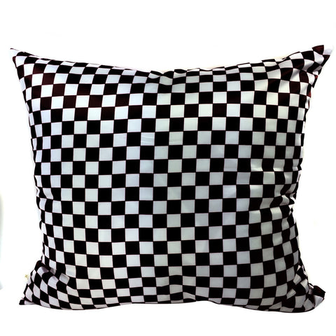 Checkers Decorative Pillow Covers Collection Black-White, Square Set of 2. - It's All About An Idea