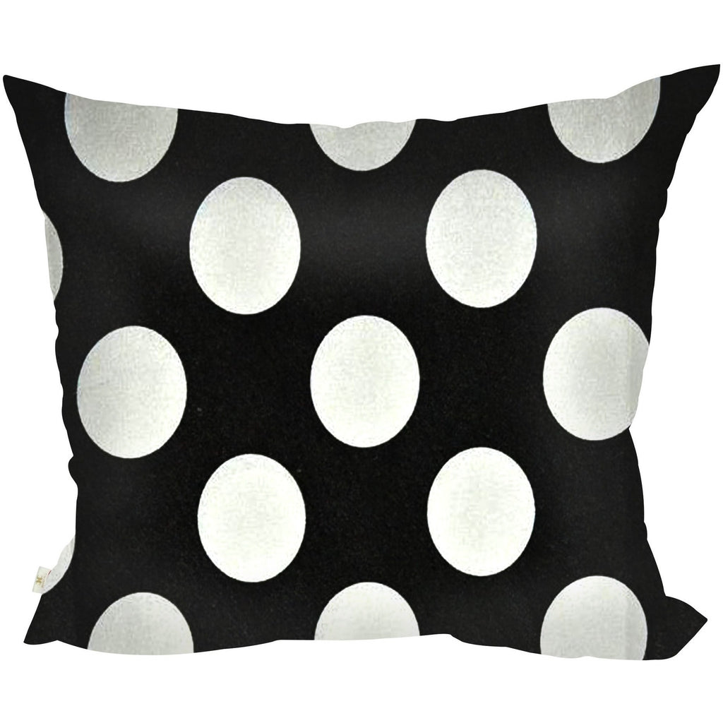 PolkaDots Decorative Pillow Covers Collection Black-White, Square Set of 2. - It's All About An Idea