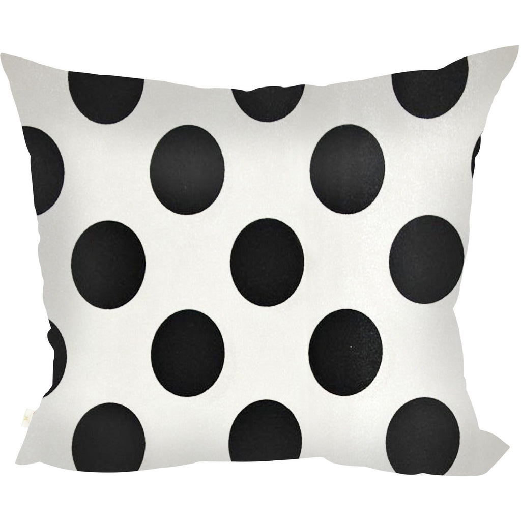 PolkaDots Decorative Pillow Covers Collection White-Black, Square Set of 2. - It's All About An Idea