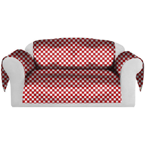 Checkers Decorative Sofa / Couch Covers Collection Red-White. - It's All About An Idea
