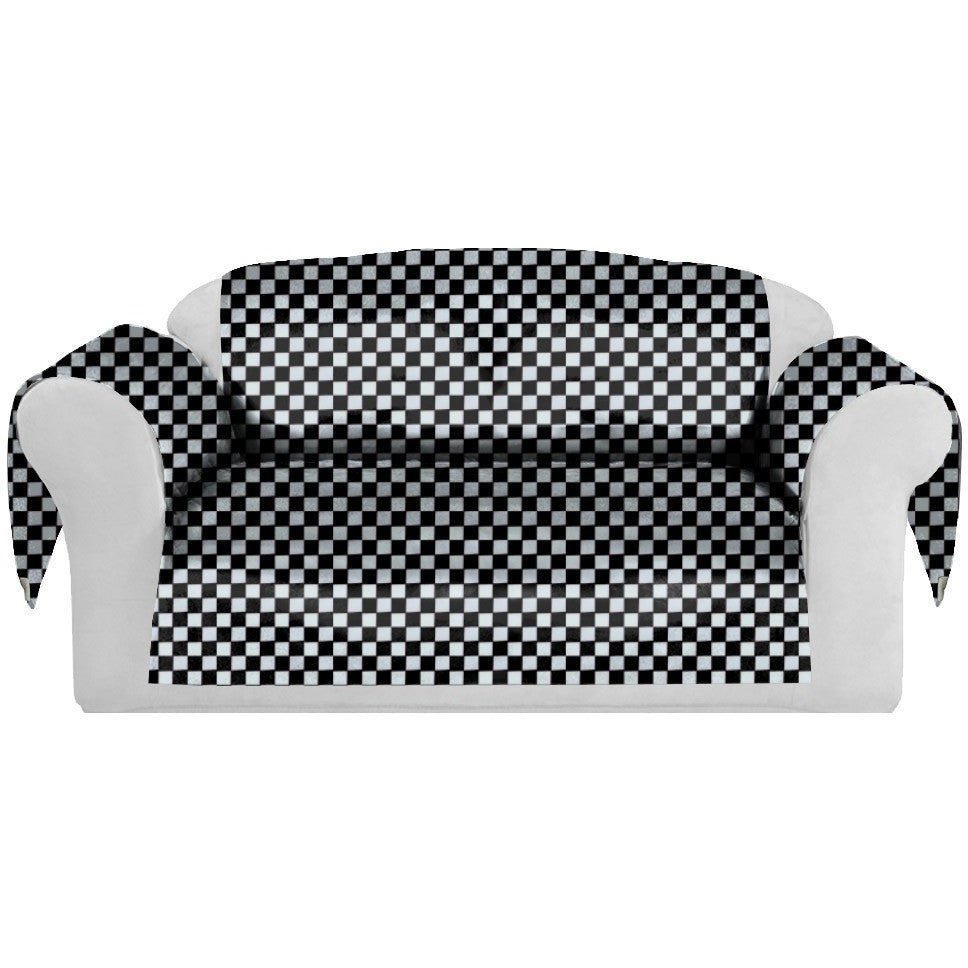 Checkers Decorative Sofa / Couch Covers Collection Black-White. - It's All About An Idea