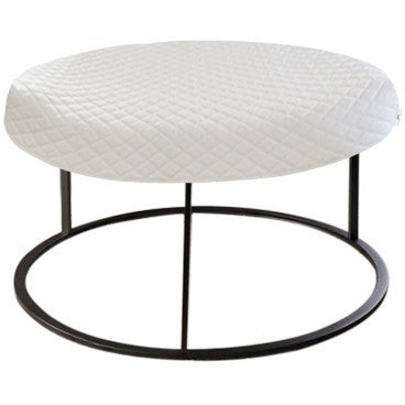 Round White Diamond Pouf Coffee-Table Cover - It's All About An Idea